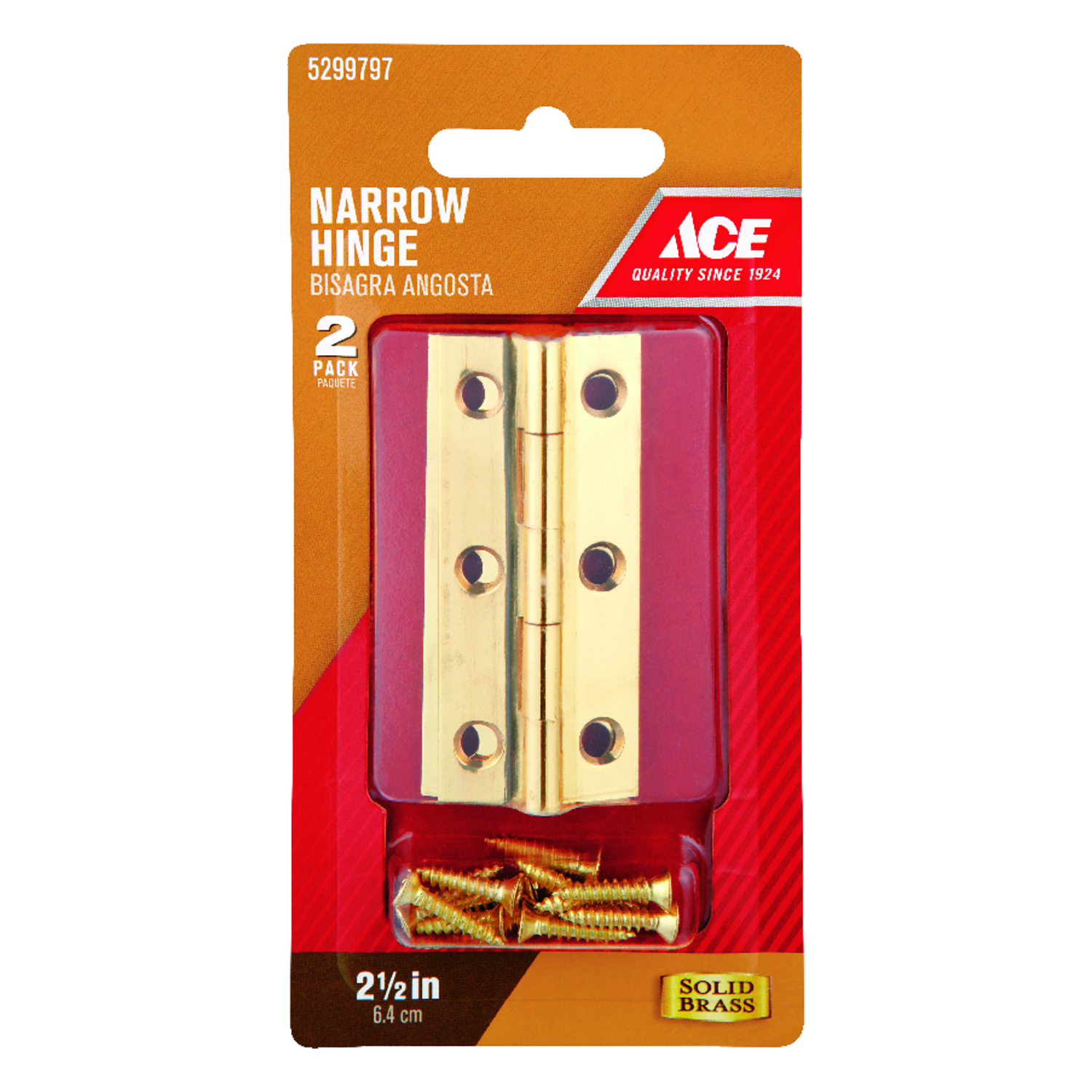 Ace  2.75 in. W x 2-1/2 in. L Polished Brass  Brass  Narrow Hinge  2 pk