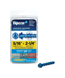 Tapcon  5/16 in. Dia. x 2-1/4 in. L Steel  Hex Head Concrete Screw Anchor  15 pk