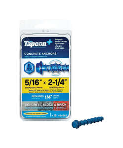 Tapcon  5/16 in. Dia. x 2-1/4 in. L Steel  15 pk Concrete Screw Anchor  Hex