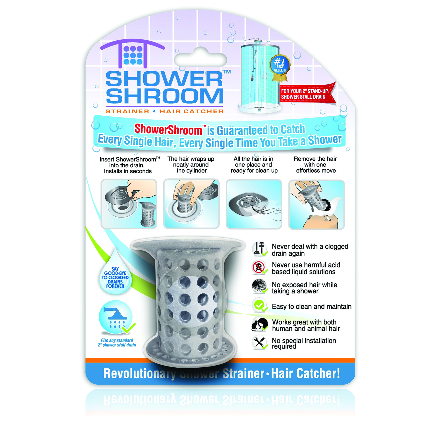 Shower Shroom  2 in. Gray  Silicone  Round  Drain Hair Catcher