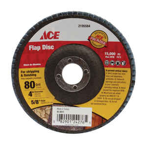 Ace  4 in. Dia. x 5/8 in.   Aluminum Oxide  Flap Disc  80 Grit Medium  1 pc.