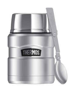Thermos  Stainless King  16 oz. Food Jar with Folding Spoon  1 pk Silver