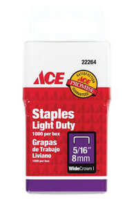 Ace  5/16 in. L x 3/8 in. W Galvanized Steel  Light Duty Staples  1000  Wide Crown