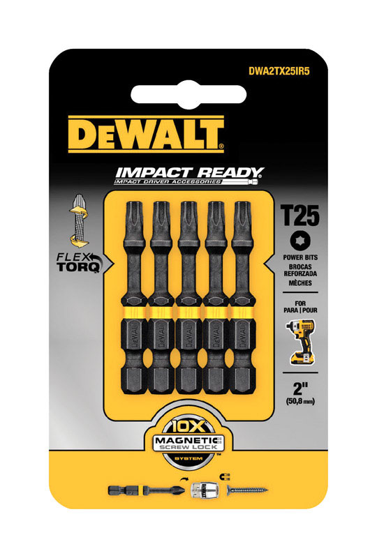 DeWalt  Impact Ready  2 in. L x T25 in.  1/4 in. 5 pc. Screwdriver Bit  Torx