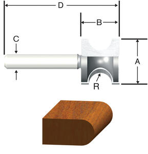 Vermont American  1 in. Dia. x 3/16 in.  x 2-1/8 in. L Carbide Tipped  Bull Nose  Router Bit