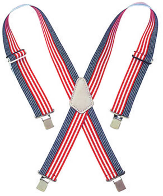 CLC  4.25 in. L x 2 in. W Nylon  Adjustable Suspenders  Blue/Red/White  One Size Fits Most  1 pair