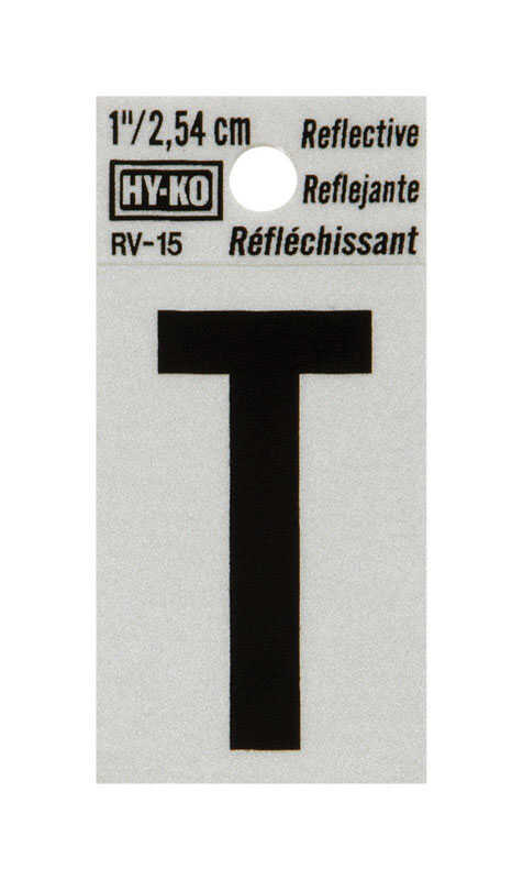 Hy-Ko  1 in. Vinyl  Black  Reflective Letter  Self-Adhesive  T