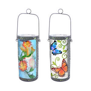 Luminous Garden  LED  Solar Lantern  Glass  Multicolored