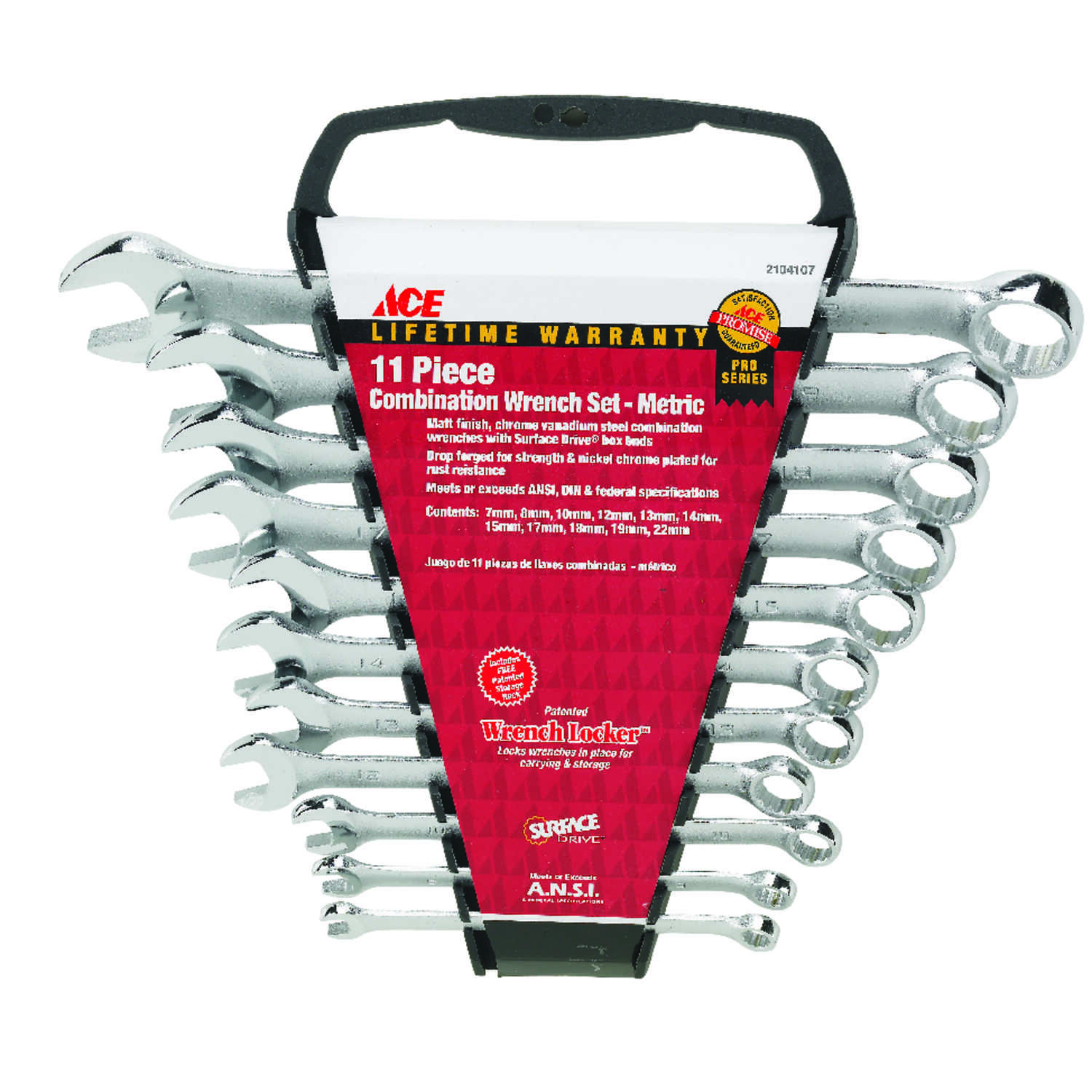 Ace  Wrench Locker  Multiple   Wrench Set  11 pc. Metric