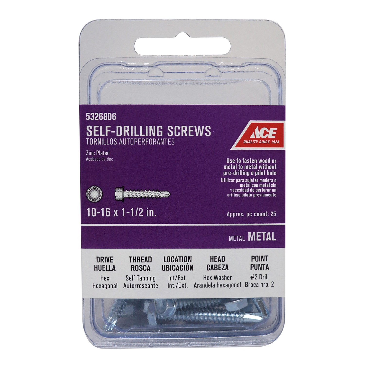 Ace  1-1/2 in. L x 10 Sizes  Hex  Zinc-Plated  Hex Washer Head Self- Drilling Screws  25 per box Ste