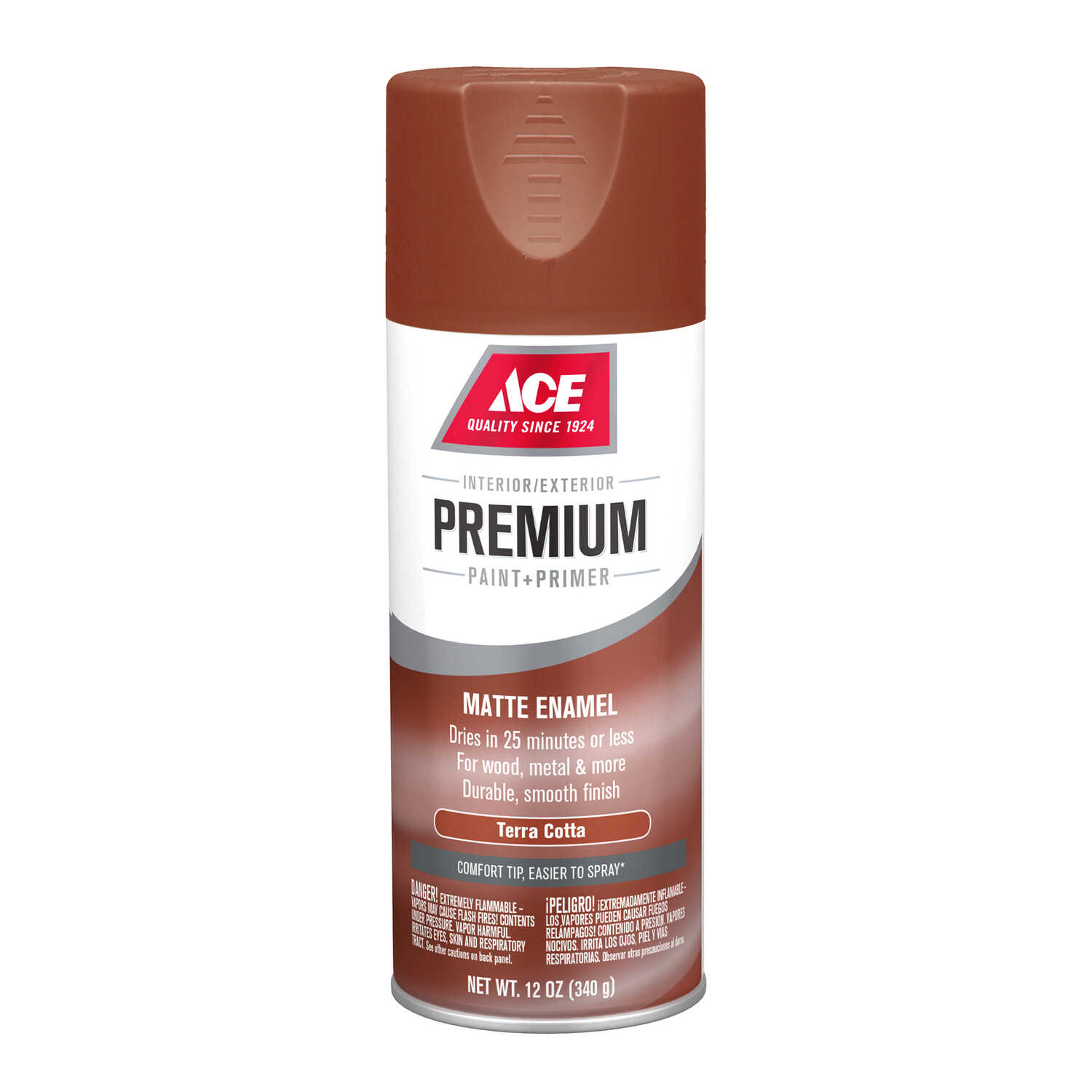 Ace  Premium  Matte  Terra Cotta  12 oz. Paint and Primer Spray Paint