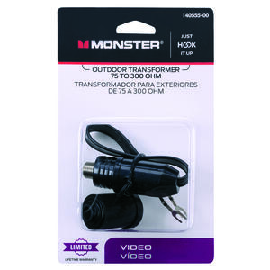 Monster Cable  Just Hook It Up  Cable  F  Matching Video Transformer  1 pk
