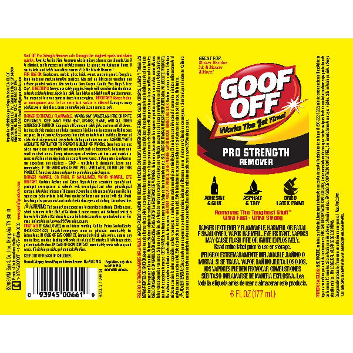 Goof Off  Pro Strength  Liquid  Adhesive Remover  6 oz.