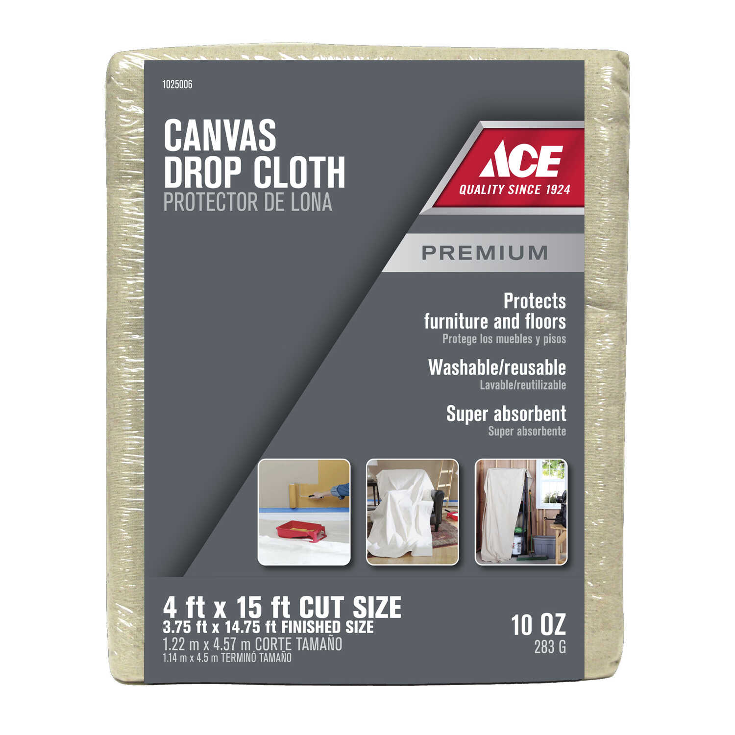 ACE  4 ft. W x 15 ft. L Canvas  Drop Cloth  1 pk