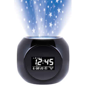 Sharper Image  Black  Alarm Clock  Battery Operated