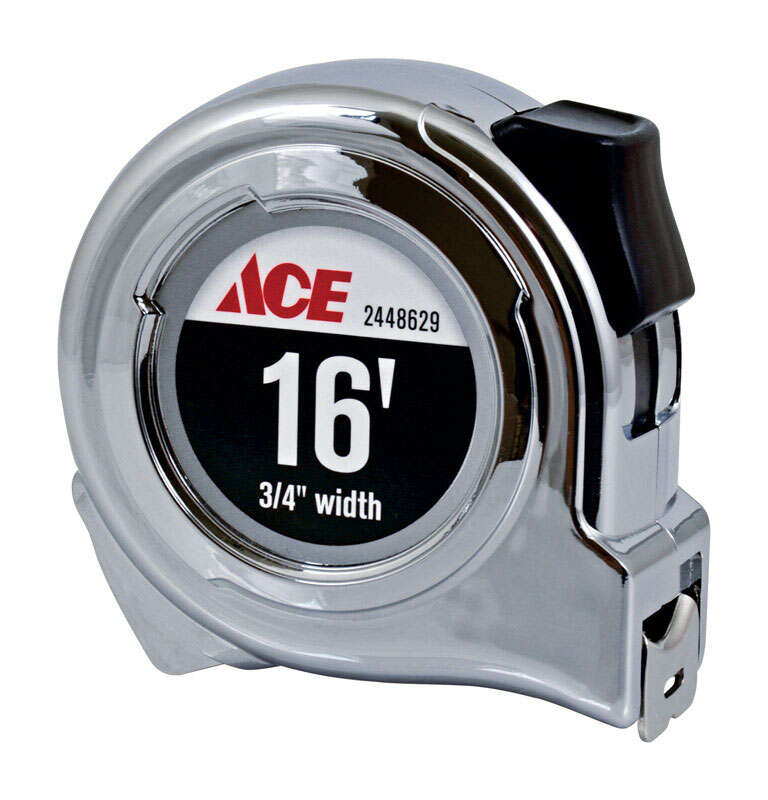 Ace  16 ft. L x 0.75 in. W Tape Measure  Chrome  1 pk