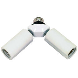 Satco  Plastic  Medium Base  Twin Light Socket Adapter  1 pk