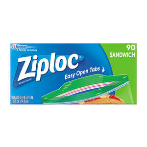Ziploc  Sandwich Bag  90 pk Clear