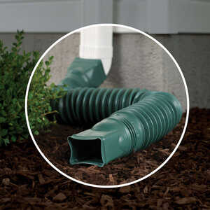 Amerimax  Flex-A-Spout  4.5 in. H x 4.5 in. W x 25.5 in. L Green  Vinyl  Downspout Extension