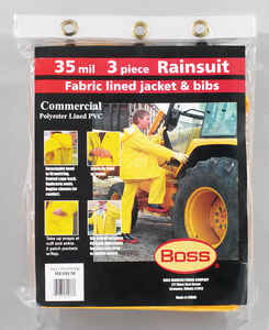 Boss  Yellow  PVC-Coated Polyester  Rain Suit  M