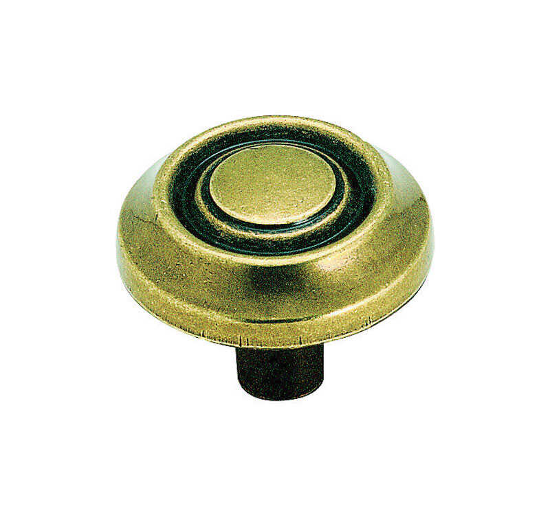 Amerock  Allison  Round  Cabinet Knob  1-1/4 in. Dia. 1 in. Burnished Brass  1 pk