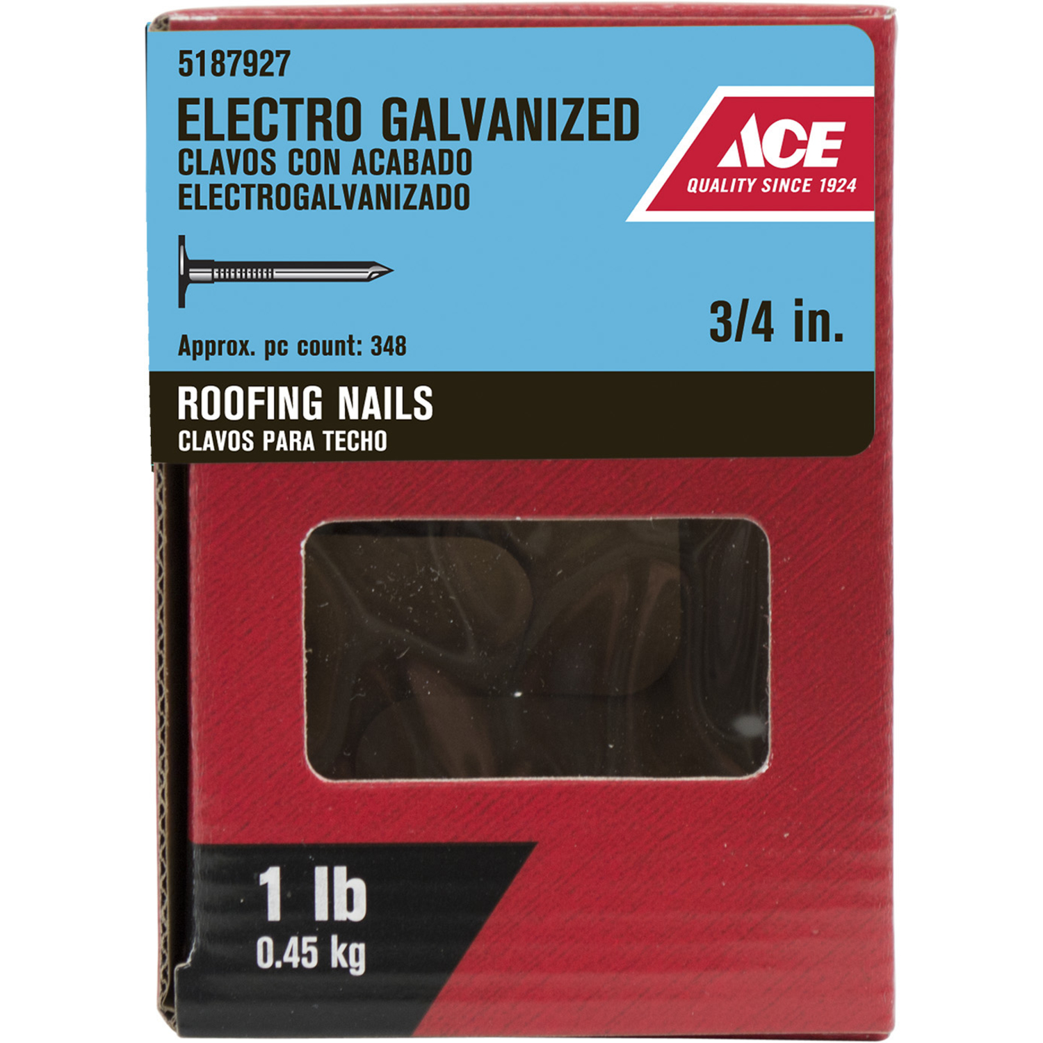 Ace  3/4 in. L Roofing  Nail  Large Head Smooth Shank  348  1 lb.