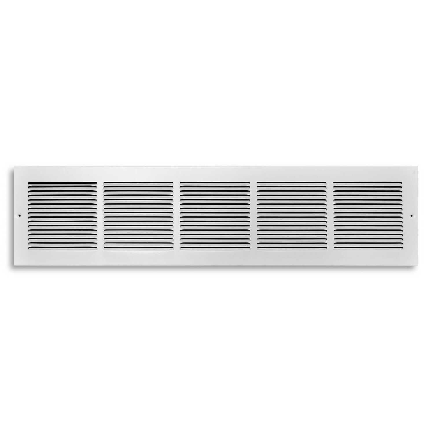 Tru Aire  6 in. H x 30 in. W 1-Way  Powder Coat  White  Steel  Baseboard Return Grille