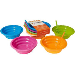 Arrow Home Products Sip-A-Bowl 22 oz. Assorted Plastic Round Bowl w/Straw 7-1/4 in. Dia. 4 pk