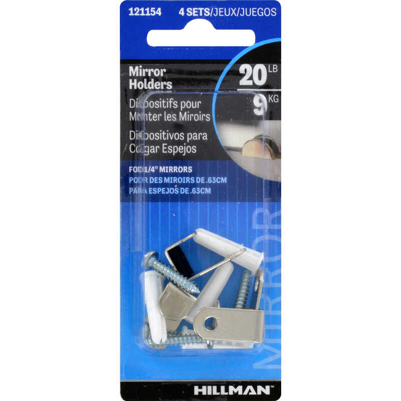 HILLMAN  AnchorWire  Steel  Mirror Holder  Hidden  2 pk 20 lb.