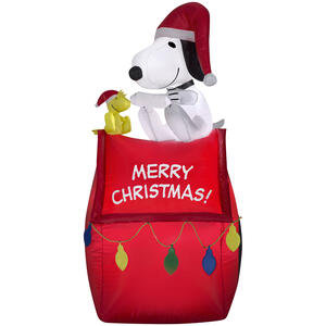 Gemmy  Airblown  Airblown Snoopy On House With Banner And Lights  Christmas Decoration  Multicolored