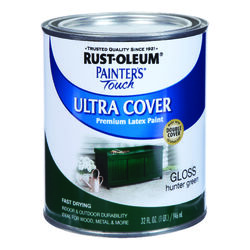 Rust-Oleum  Painters Touch Ultra Cover  Gloss  Hunter Green  Water-Based  Acrylic  Paint  Indoor and