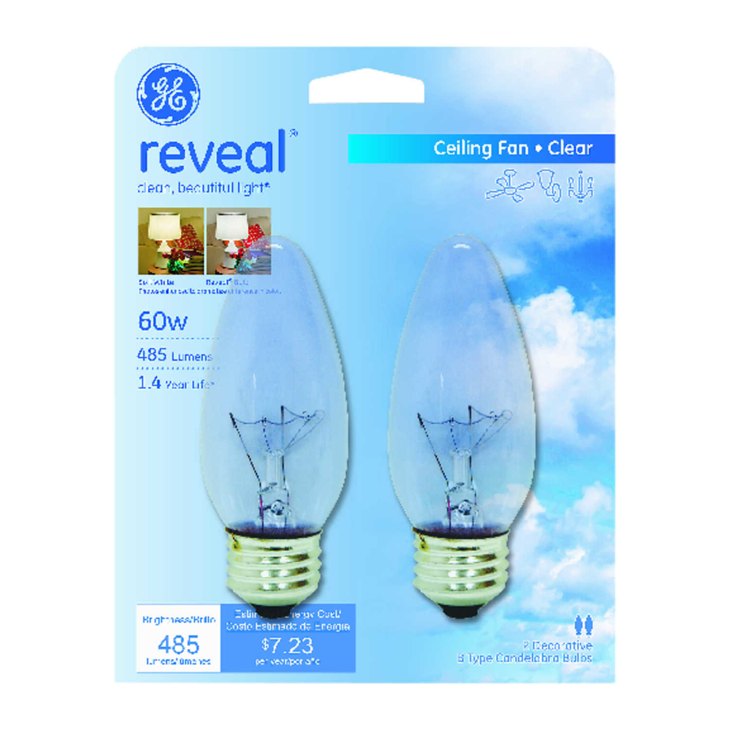 GE Lighting  Reveal  60 watts B13  Incandescent Bulb  485 lumens Cool White  Decorative  2 pk