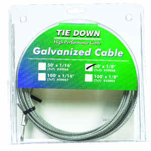 Tie Down Engineering  Galvanized  Galvanized Steel  1/8 in. Dia. x 50 ft. L Aircraft Cable