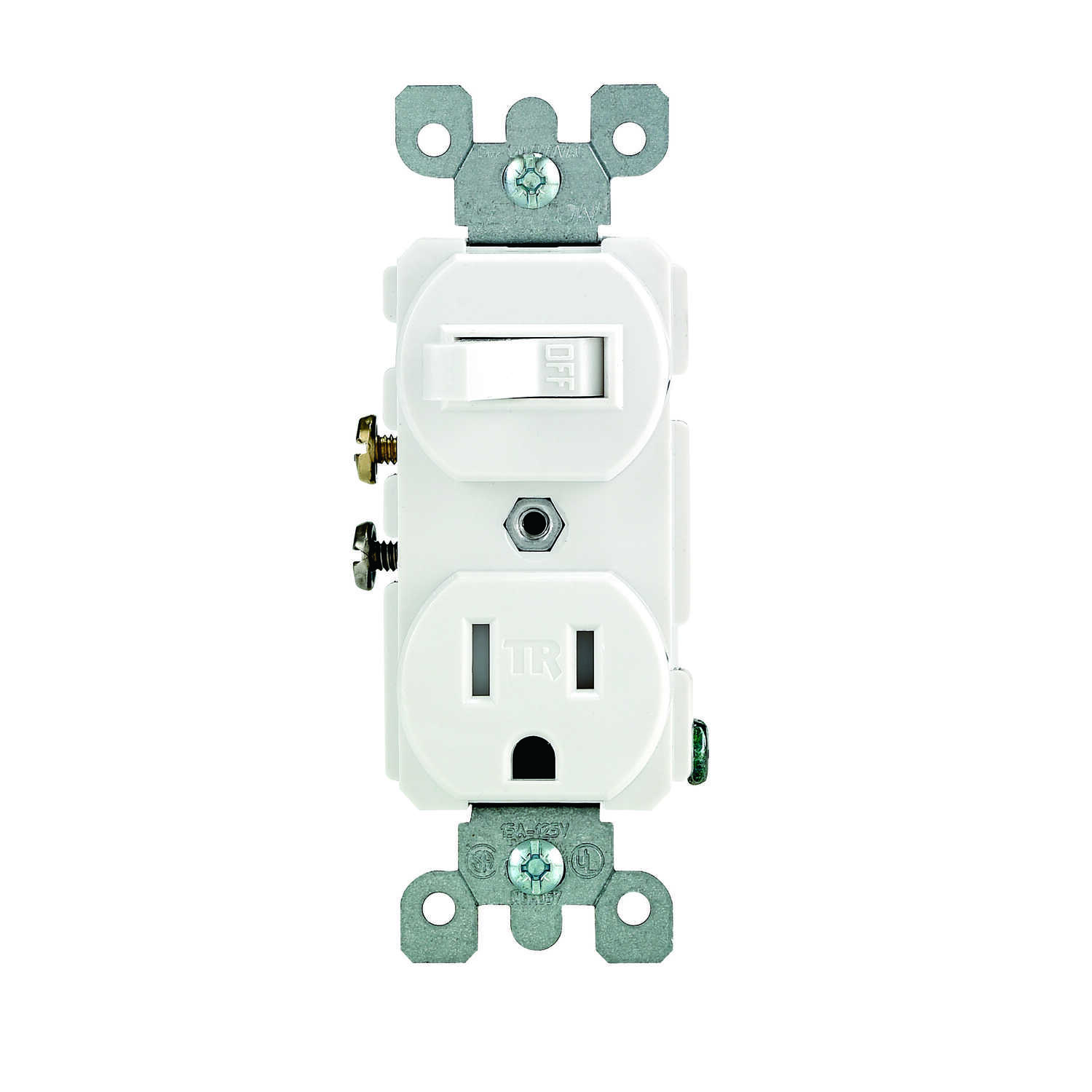 Leviton  15 amps 125 volt White  Combination Switch/Outlet  5-15R  1 pk