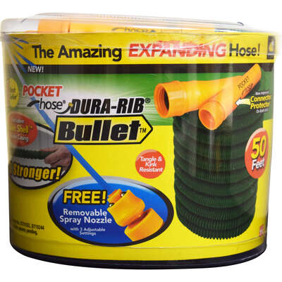 Pocket Hose Dura Rib 3/4 in. Dia. x 50 ft. L Expanding Green Nylon Garden Hose