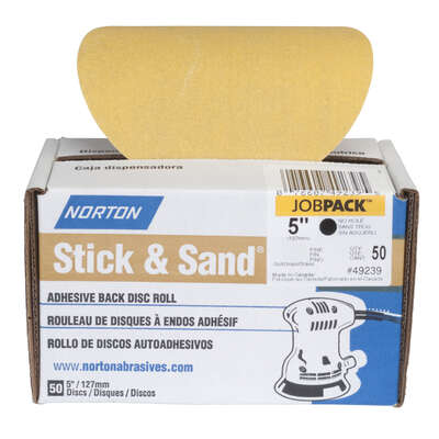 Norton  Stick & Sand  5 in. Aluminum Oxide  Adhesive  A290  Sanding Disc  220 Grit Very Fine  50 pk