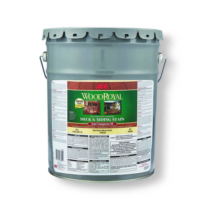Ace  Wood Royal  Semi-Transparent  Oxford Brown  Penetrating Oil  Deck and Siding Stain  5 gal.