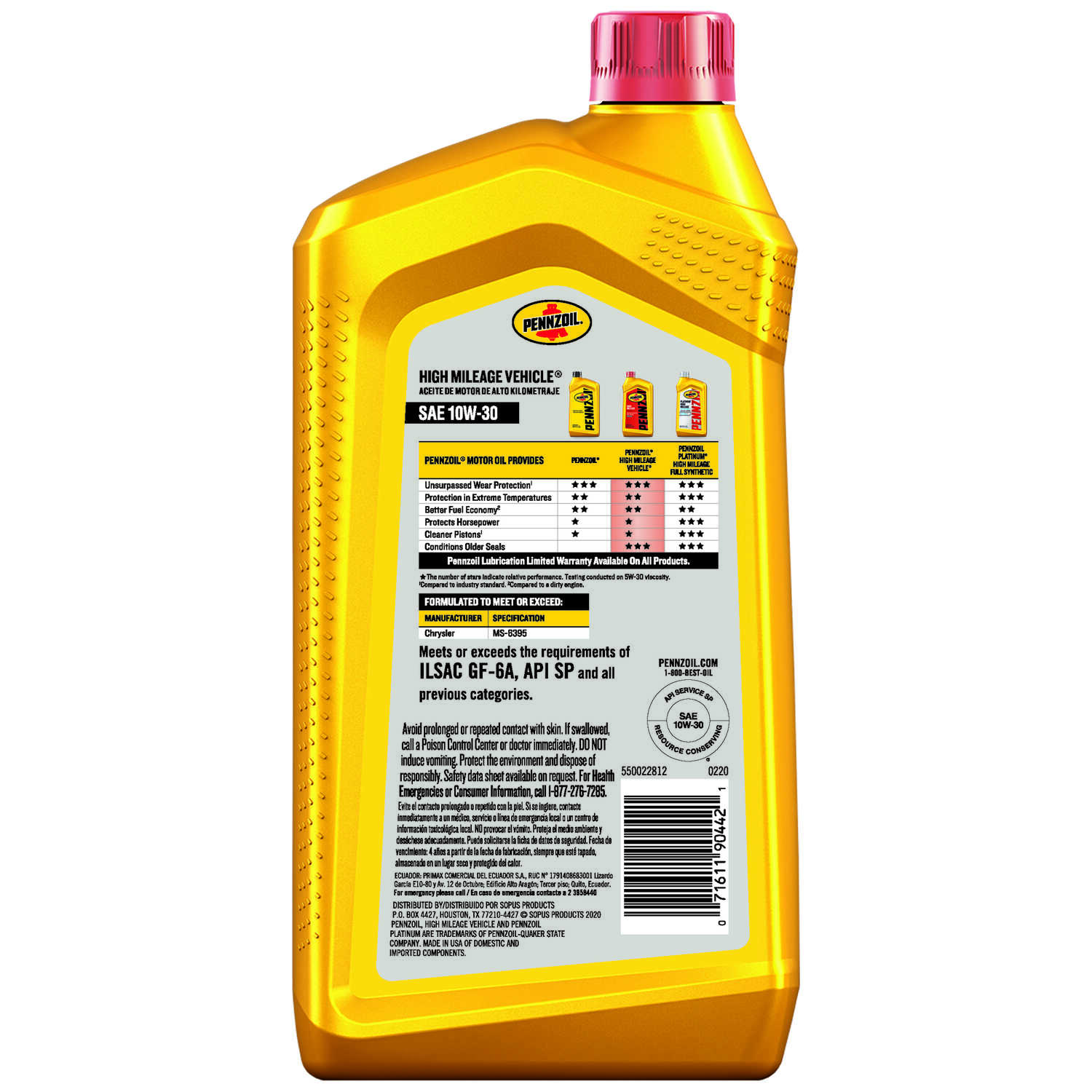 PENNZOIL  High Mileage Vehicle  10W-30  4 Cycle Engine  Motor Oil  1 qt.