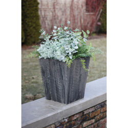 Suncast  Farmington  18 in. H x 16 in. W x 16 in. D Resin  Planter  Gray