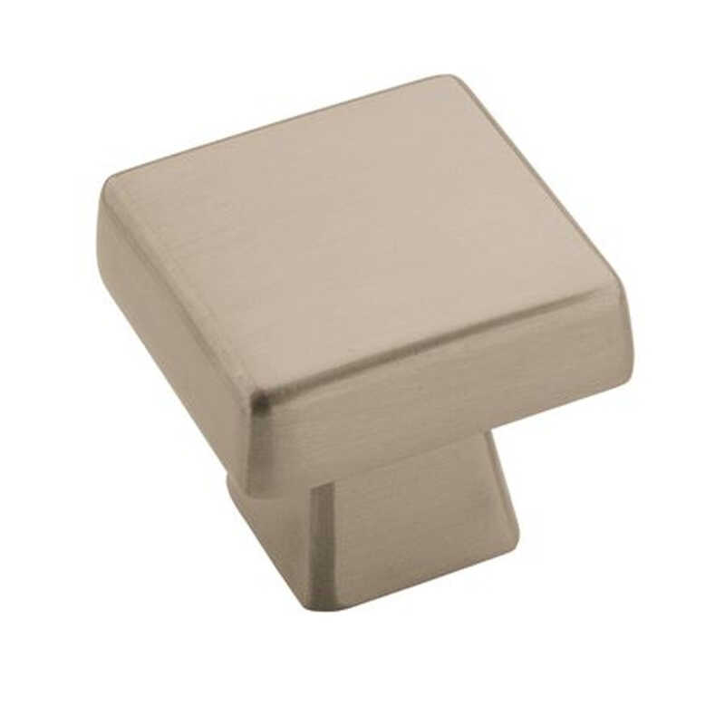 Amerock  1-3/16 in. L Knob  1 in. Satin Nickel  Blackrock Collection  1 pk