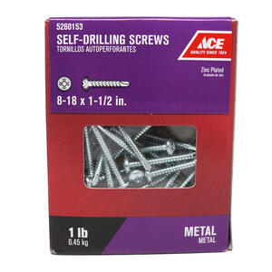 Ace  8-18 Sizes  x 1-1/2 in. L Phillips  Pan Head Zinc-Plated  Steel  Self- Drilling Screws  1 lb.