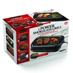 Power Smokeless Grill  As Seen On TV  Black  Nonstick Surface Indoor Grill  15.4 sq. in.