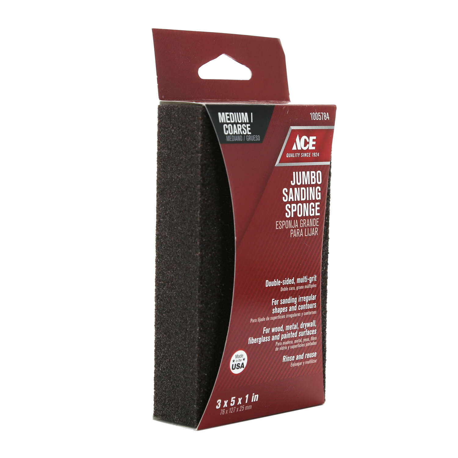Ace  5 in. L x 3 in. W x 1 in.  60/80 Grit Assorted  Extra Large  Sanding Sponge