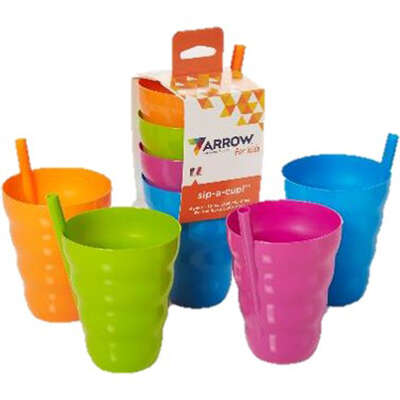 Arrow Home Products  Assorted  Plastic  Sip-A  Cup  4 in. Dia. 4 pk