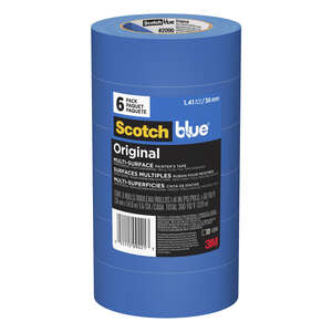 Scotch-Blue  1.41 in. W x 60 in. L x 1.41 in. W x 60 in. L Medium Strength  Masking Tape  6 pk Blue
