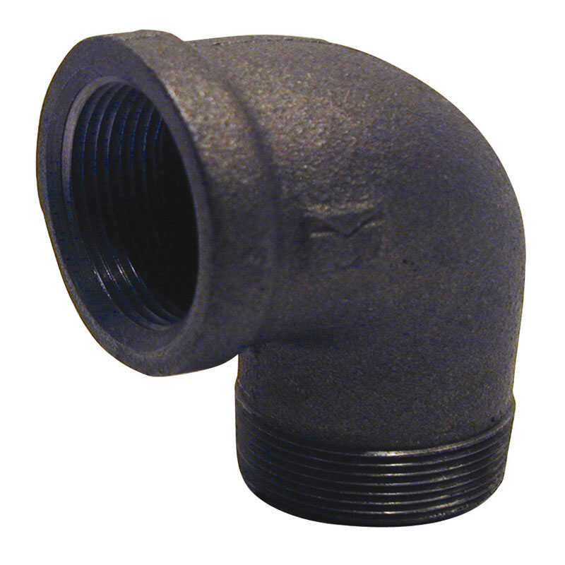 BK Products  1 in. FPT   x 1 in. Dia. MPT  Black  Malleable Iron  Street Elbow