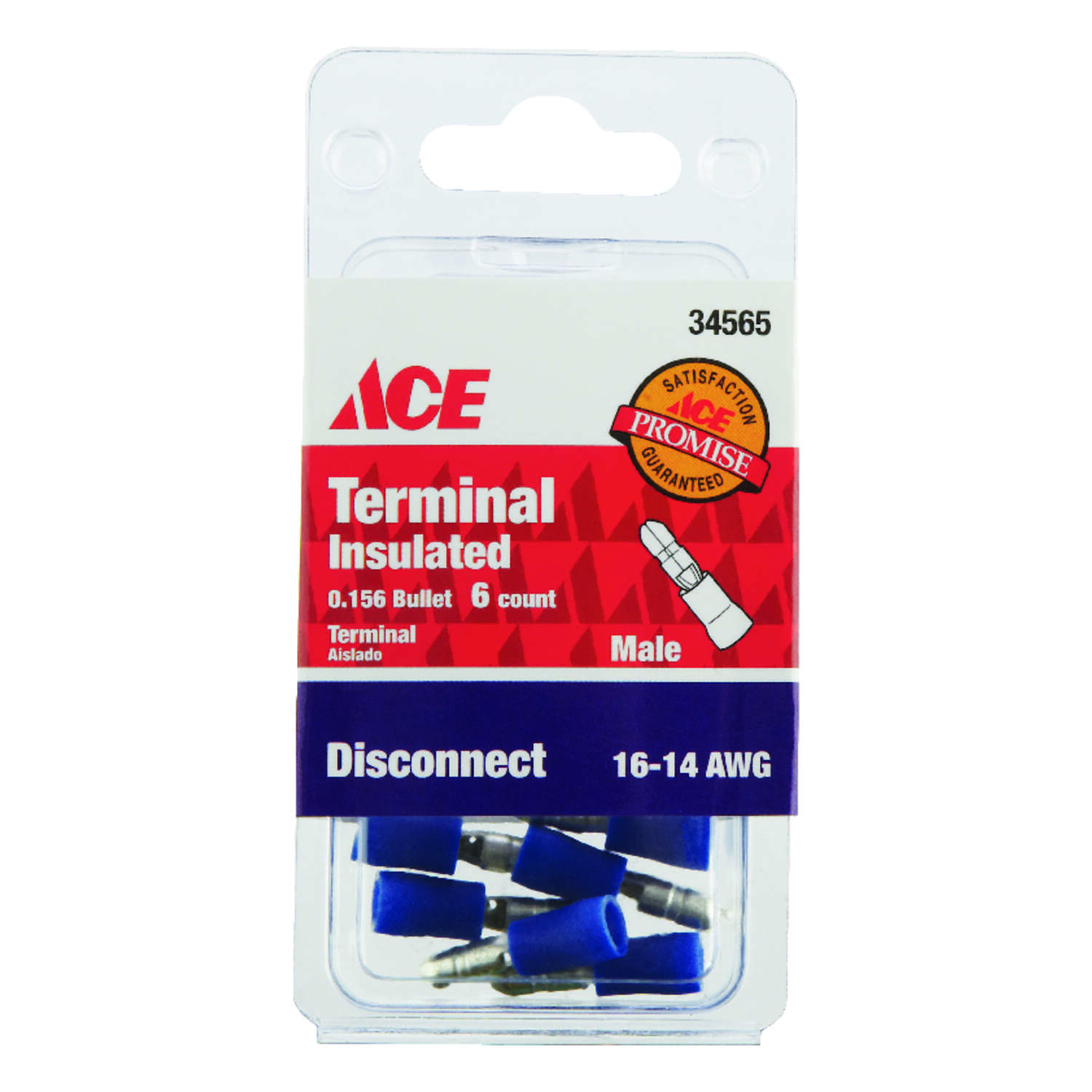 Ace Insulated Wire Male Disconnect Blue 6 pk