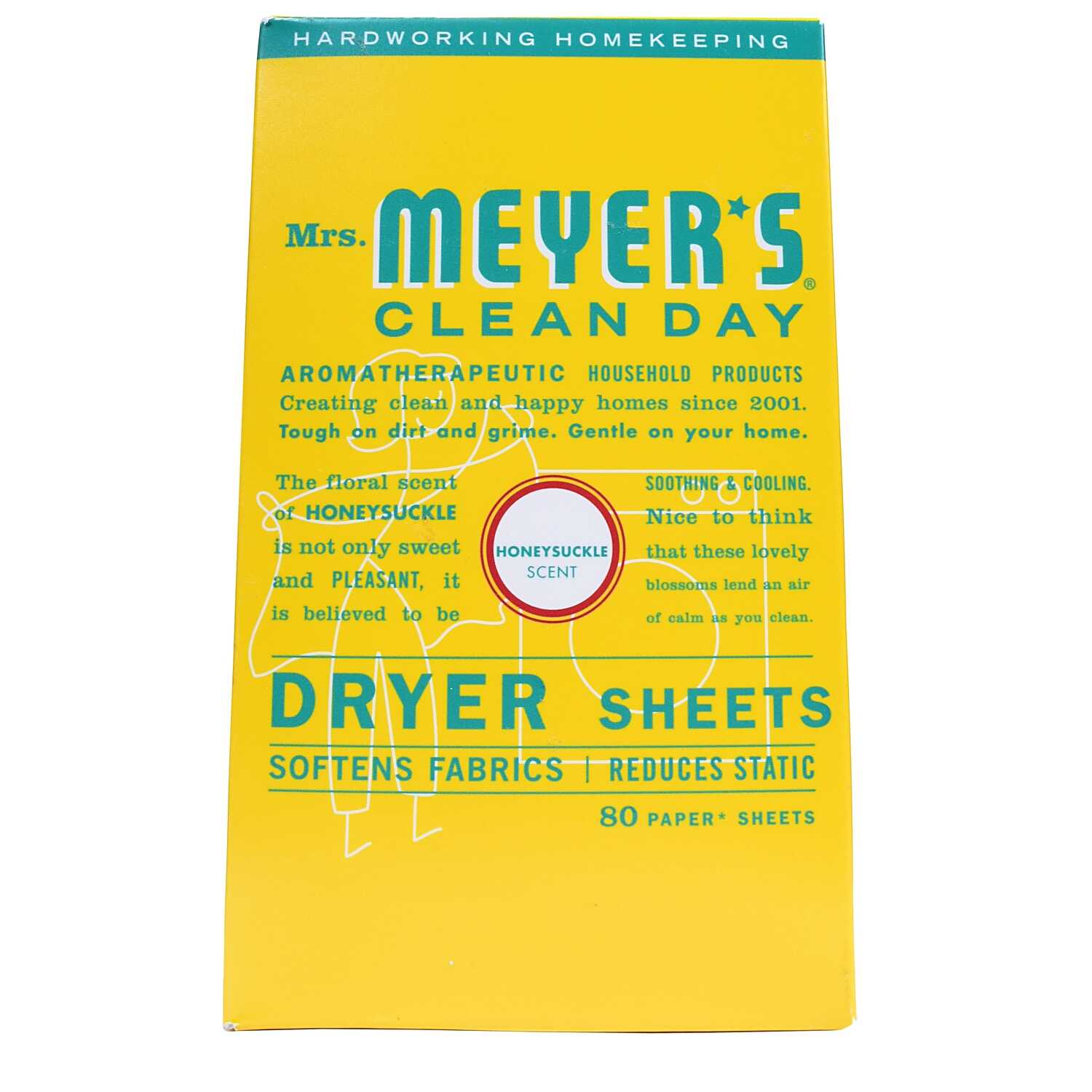 Mrs. Meyer's  Clean Day  Honeysuckle Scent Fabric Softener  Sheets  80 oz.