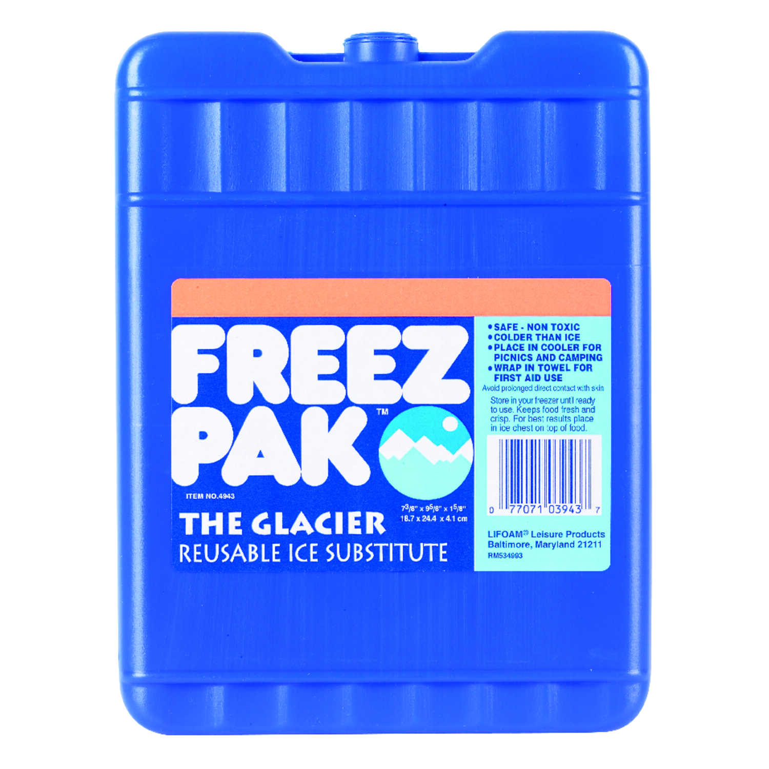 Freez Pak  The Glacier  Lunch Box Cooler  62 oz. 1 pk Blue
