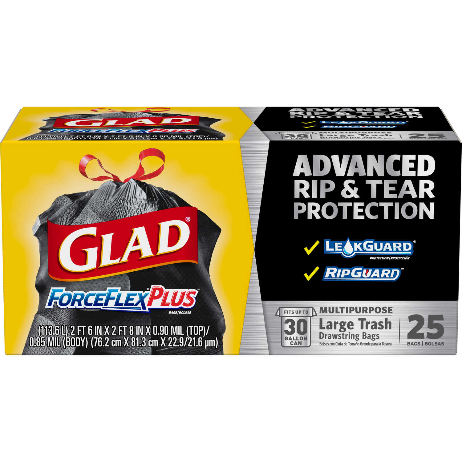 Glad  ForceFlex  30 gal. Trash Bags  Drawstring  25 pk